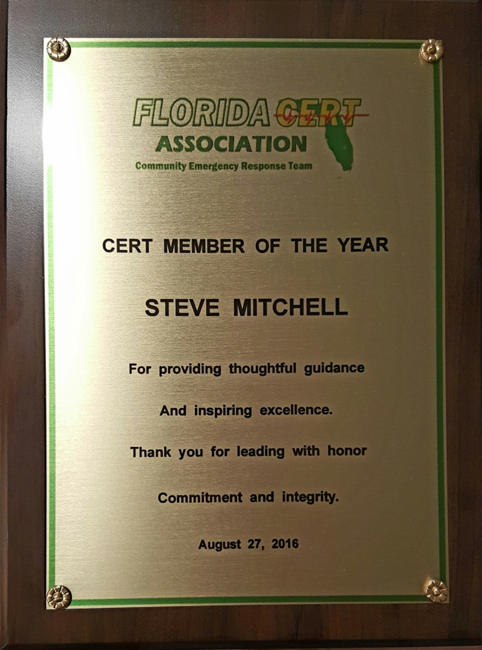 Steve Mitchell Named Florida CERT Association CERT Member of the Year