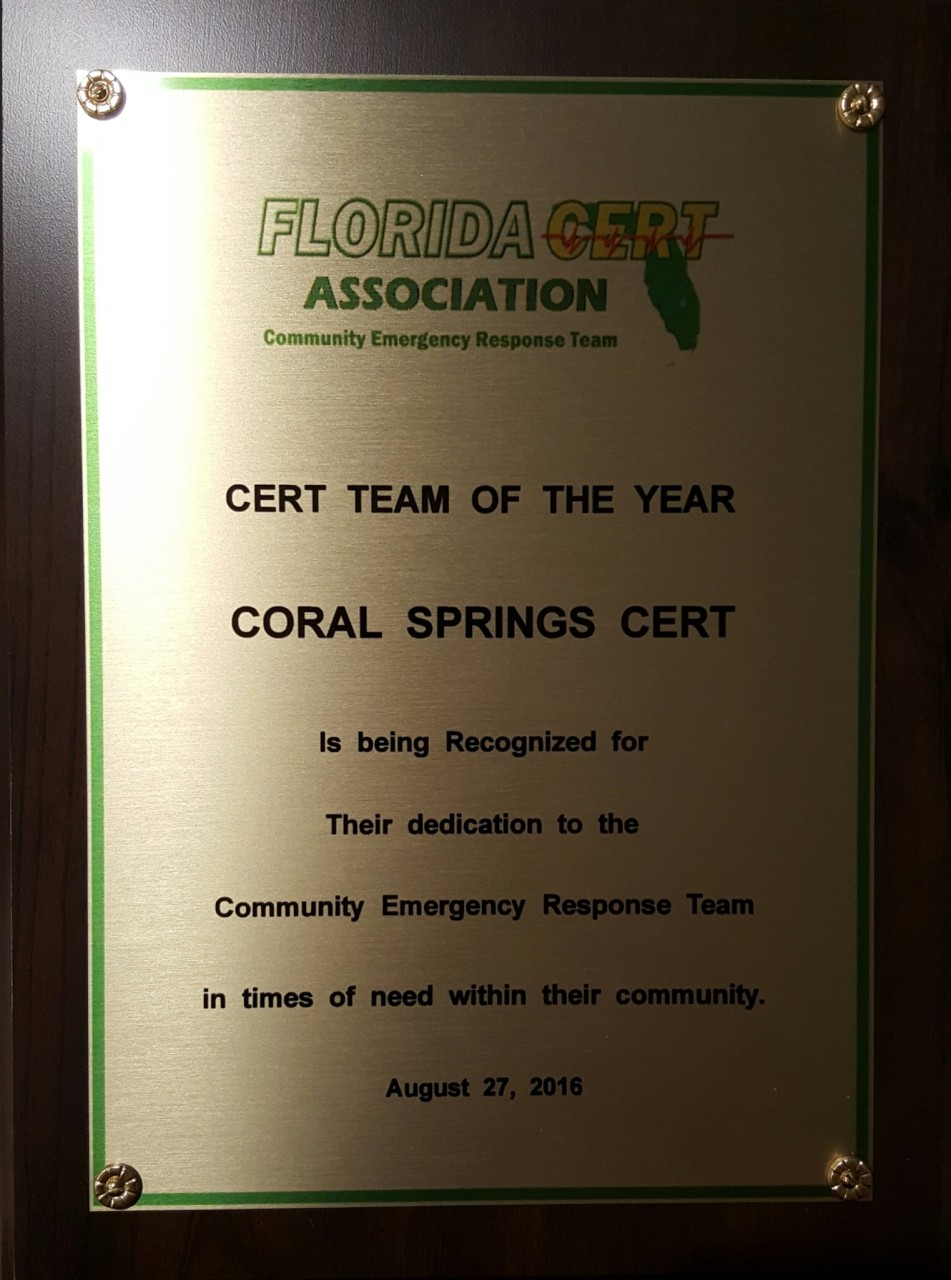 Coral Springs/Parkland CERT Named Florida CERT Team of the Year